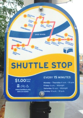 get to great american southbank shuttle sign