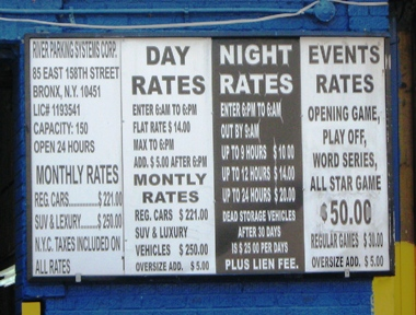 new yankee stadium parking rates