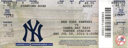 new yankee stadium ticket stub