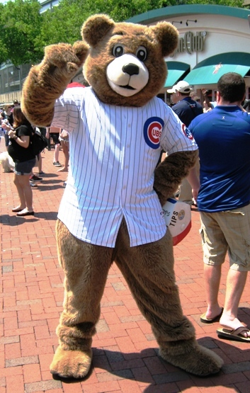 wrigley field with kids cubby bear