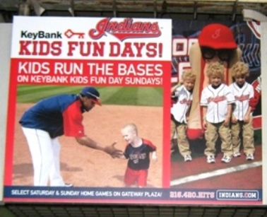 progressive field with kids run the bases