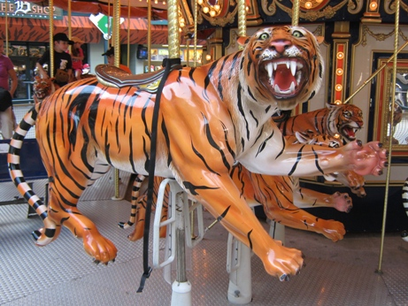 comerica park with kids carousel