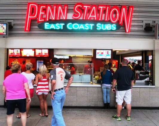 great american ball park food options penn station subs